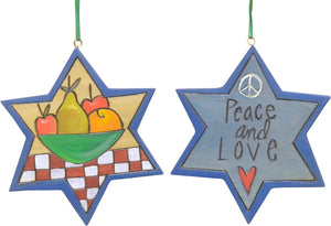 """Peace and love"" star ornament with bowl of fruit motif"