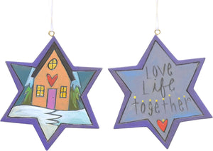 """Love life together"" Jewish star ornament with Hanukkah theme"