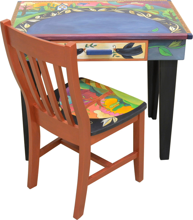 Small Desk and Chair Set –  Beautiful blue desk with a landscape and twisting vine design and complimentary warm chair with tree of life motif on its seat