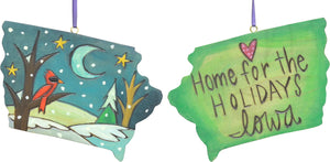 """Home for the holidays Iowa"" ornament with winter landscape scene"