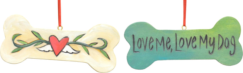 "Heart with wings and vine ""love me love my dog"" dog bone ornament"