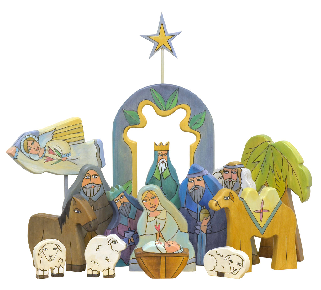 Large nativity sculpture done in a soft, cool color palette