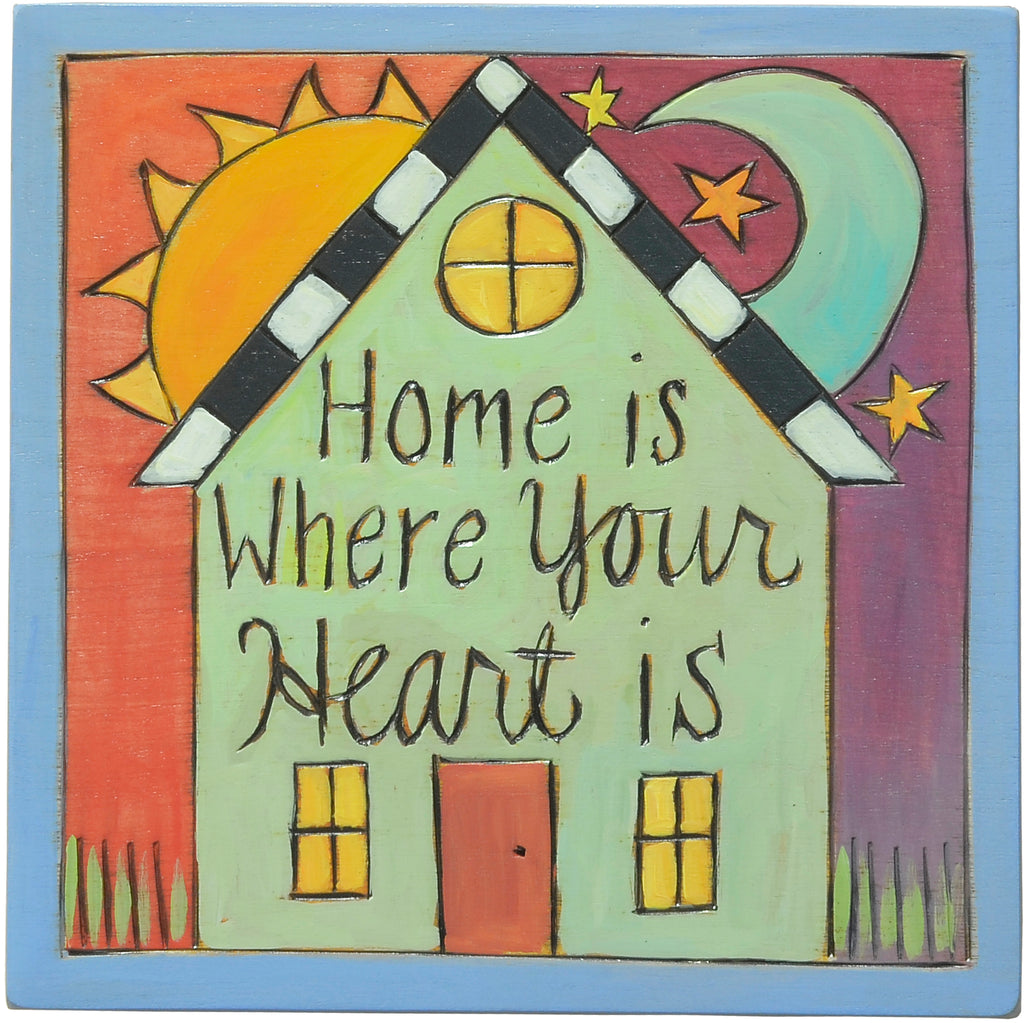 """Home is where your heart is"" done in a rainbow color palette"