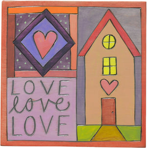 "7""x7"" Plaque –  Pink and purple ""love love love"" plaque with a happy home motif"