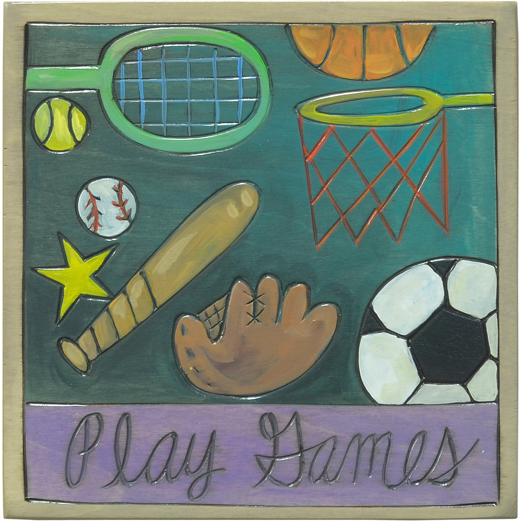 """Play games"" floating sport icons plaque design"