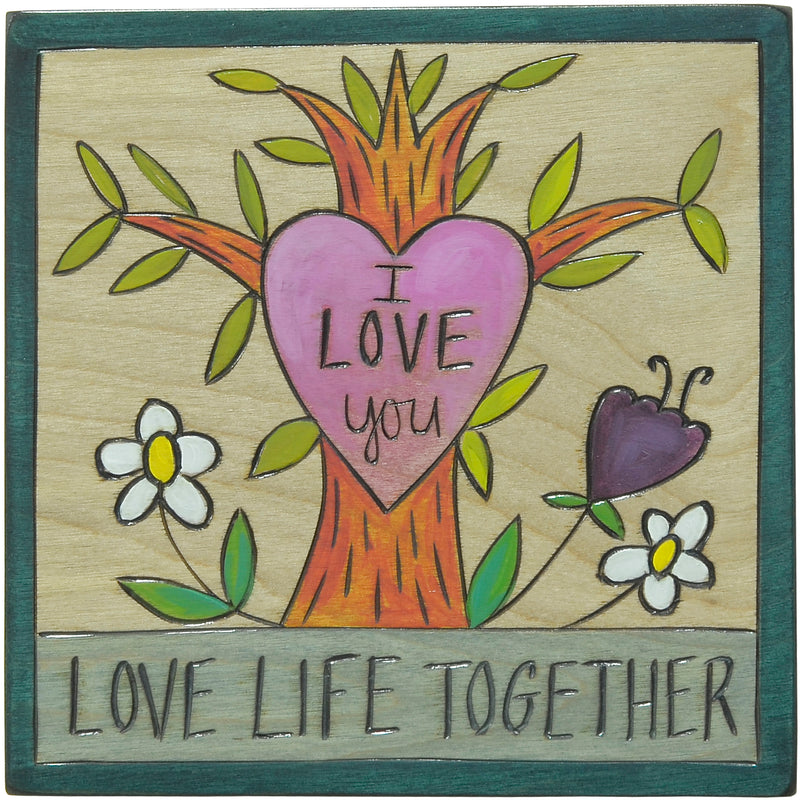 """Love life together"" love themed tree of life plaque motif"