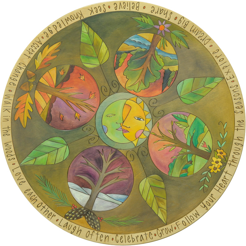 Four seasons theme lazy susan with Sticks' traditional tree of life in each season
