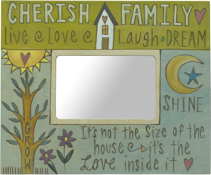 Green and blue picture frame with inspirational phrases
