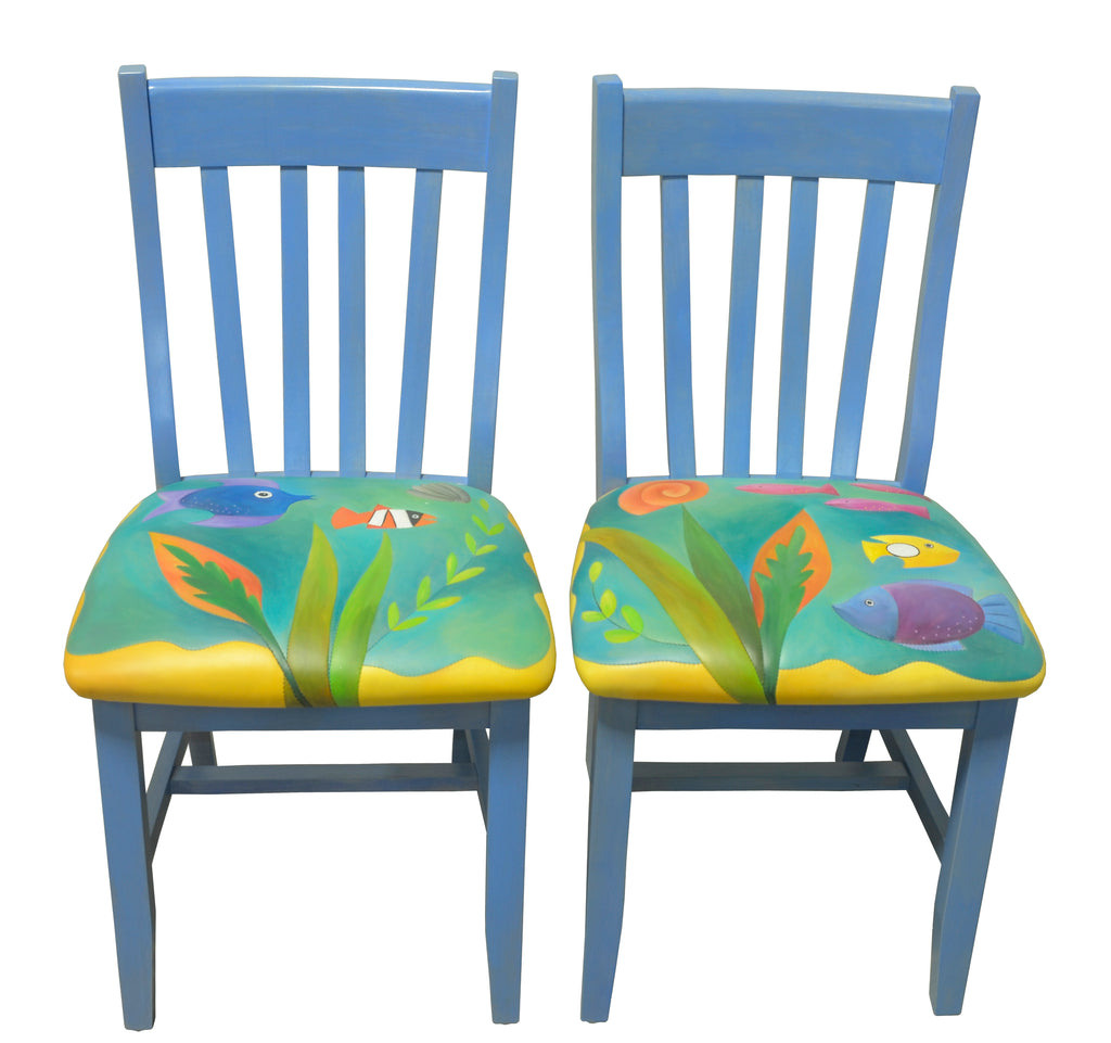 Pair of matching tropical fish chairs