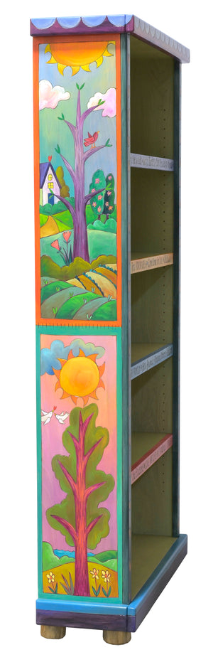 Beautiful, vibrant four seasons themed large bookcase