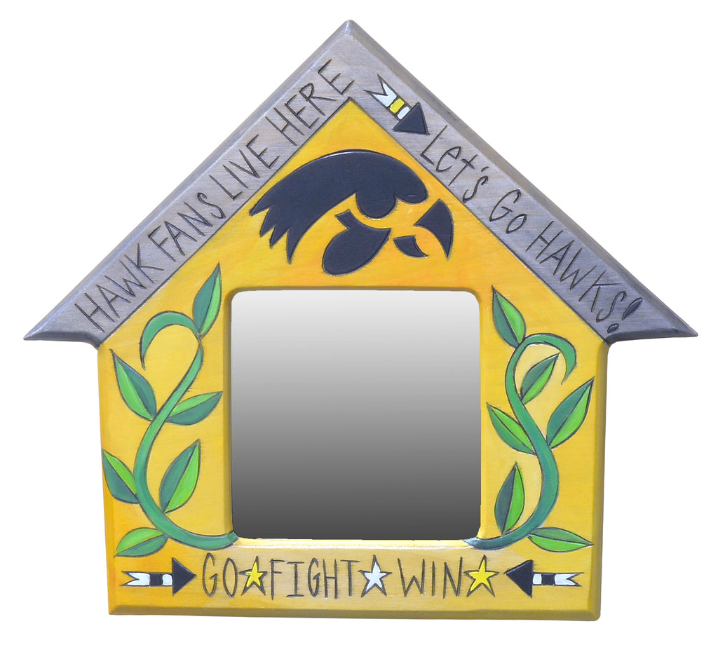 "Lovely little house shaped mirror honoring U of I, ""Go, Fight, Win!"""