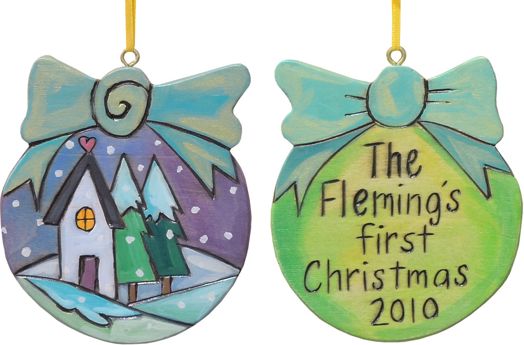 Remember a happy couple's first Christmas with this ball and bow ornament