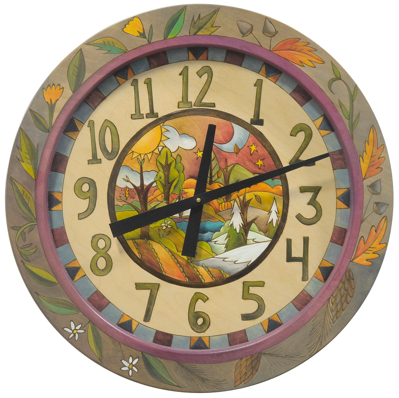 "24"" Round Wall Clock –  Four seasons clock theme with landscape in the center and coordinating flowers and leaves circling the outside edge"