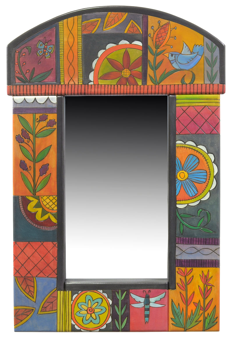 Small mirror with bright contemporary floral motif
