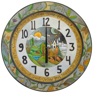 Beautiful four seasons clock motif with a seasonal vine adorning the outer border