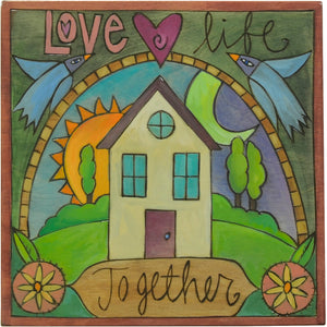 """Love life together"" plaque with Sticks home and love birds flying above"