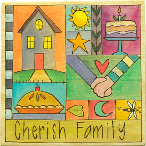 "10""x10"" Plaque – Bright and colorful ""cherish family"" crazy quilt plaque design"