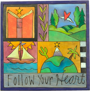 """Follow your heart"" plaque with learning and travel themed imagery""Follow your heart"" plaque with learning and travel themed imagery"