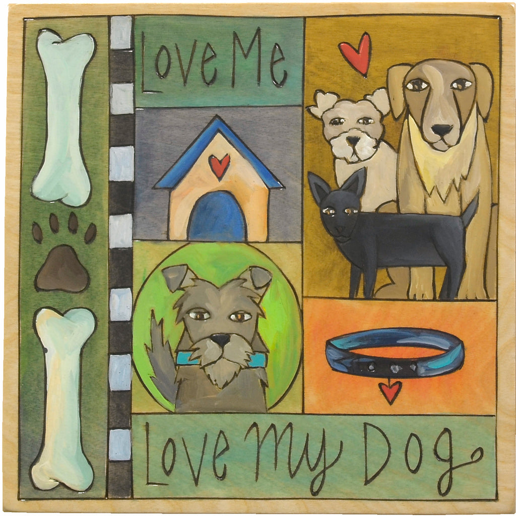 "Cute ""Love me love my dog"" pup themed crazy quilt plaque design"