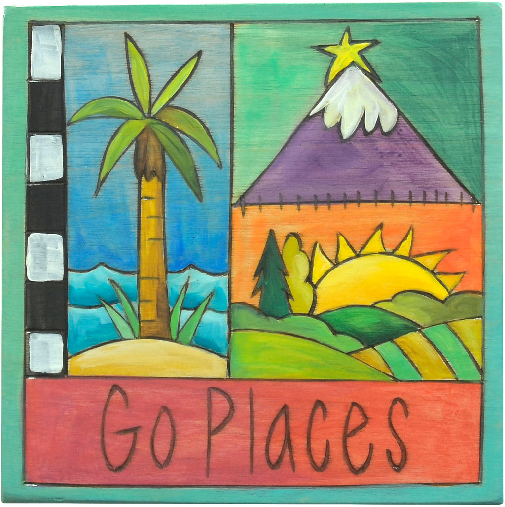 """Go places"" geographical plaque in a crazy quilt design"