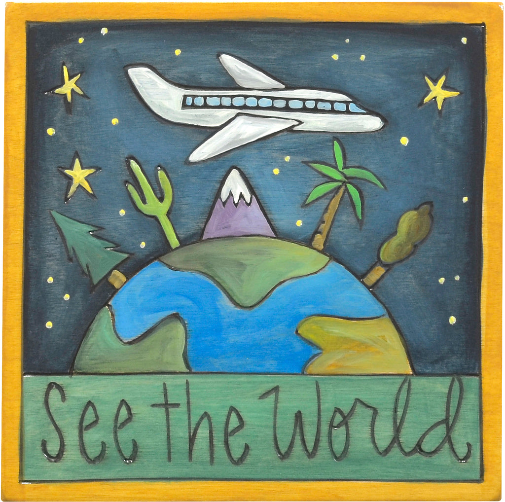 """See the world"" travel plaque with a plane flying over the world motif"