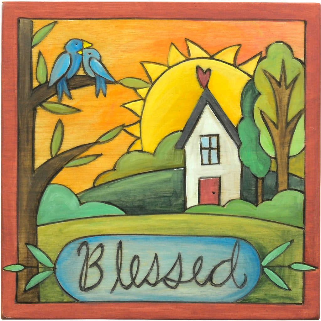 """Blessed"" plaque with nestled birds and a house motif"