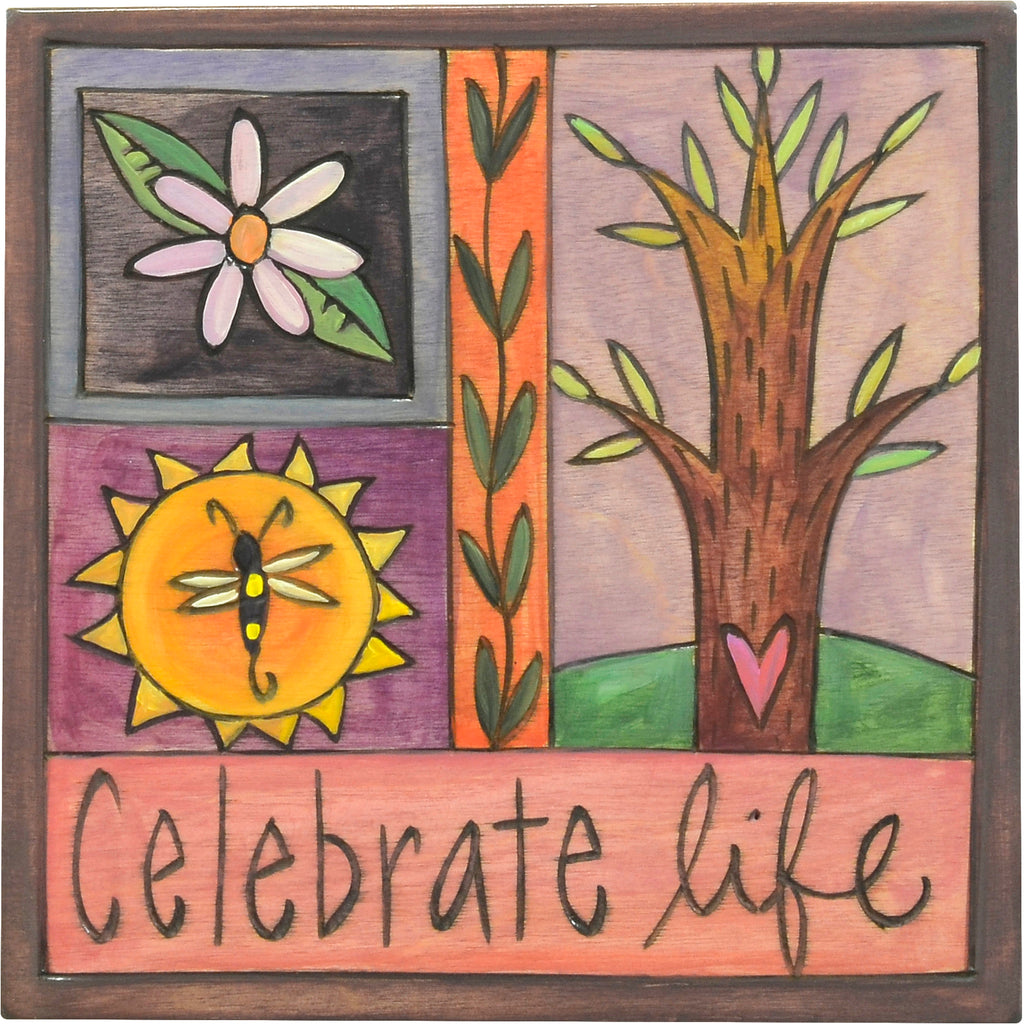 """Celebrate life"" plaque with a tree of life in a crazy quilt motif"