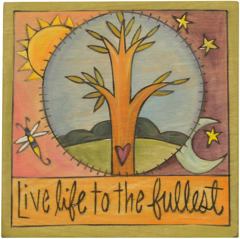 """Live life to the fullest"" encircled tree of life plaque design"