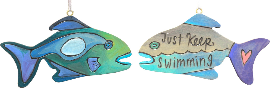"""Just keep swimming"" tropical fish ornament design"