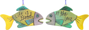 """Life is good at the lake"" fish ornament in green and yellow hues"