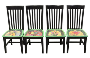 Bold and beautiful black chairs with Sticks icons and flowers on each seat