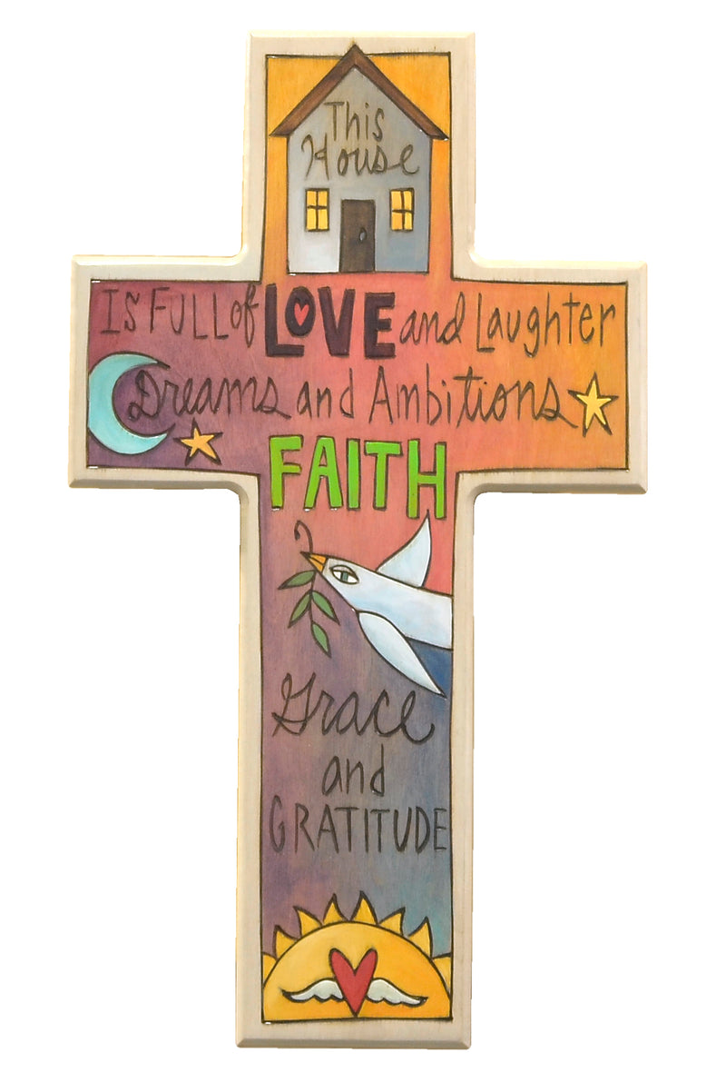 """This house is full of..."" cross quote plaque"