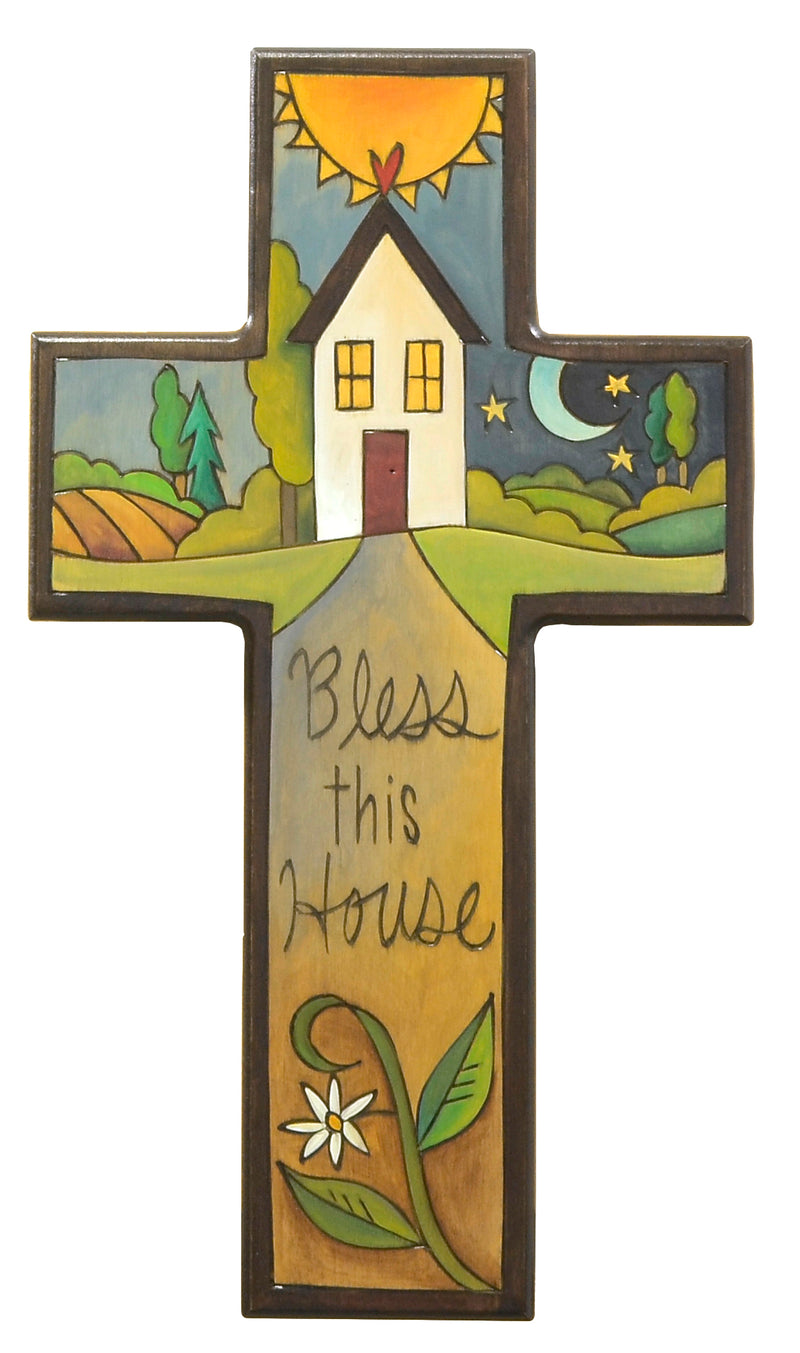 """Bless this house"" plaque with a sweet Sticks home in a landscape motif"