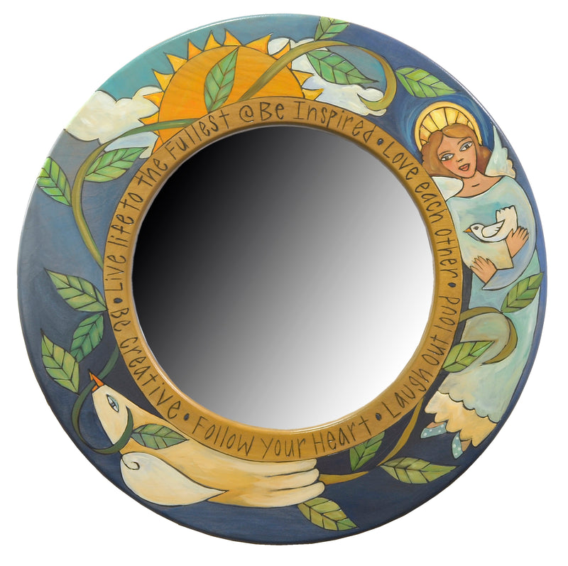 Beautiful blue angel and peace dove mirror motif