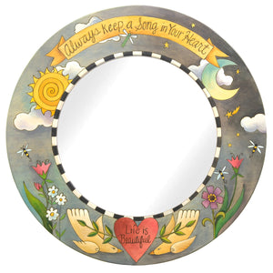 """Always keep a song in your heart"" mirror with check border, sprouting flowers, and soaring birds"