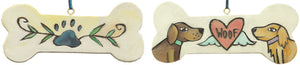 "Cute ""woof"" dog bone ornament with paw print, heart, and two dogs"