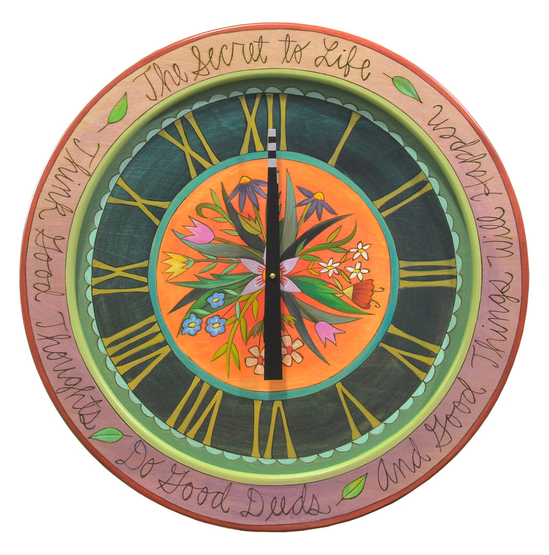 "24"" Round Wall Clock –  Beautiful floral spray clock motif with roman numerals and a purple outer edge"