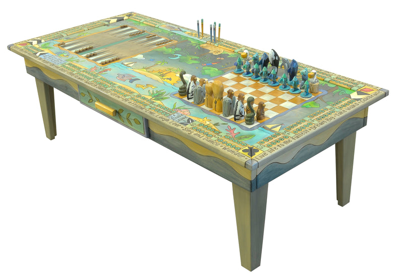 Urban Game Table and Chess Set –  Cool colored jungle vs ocean game table with 4 fun games to play with loved ones
