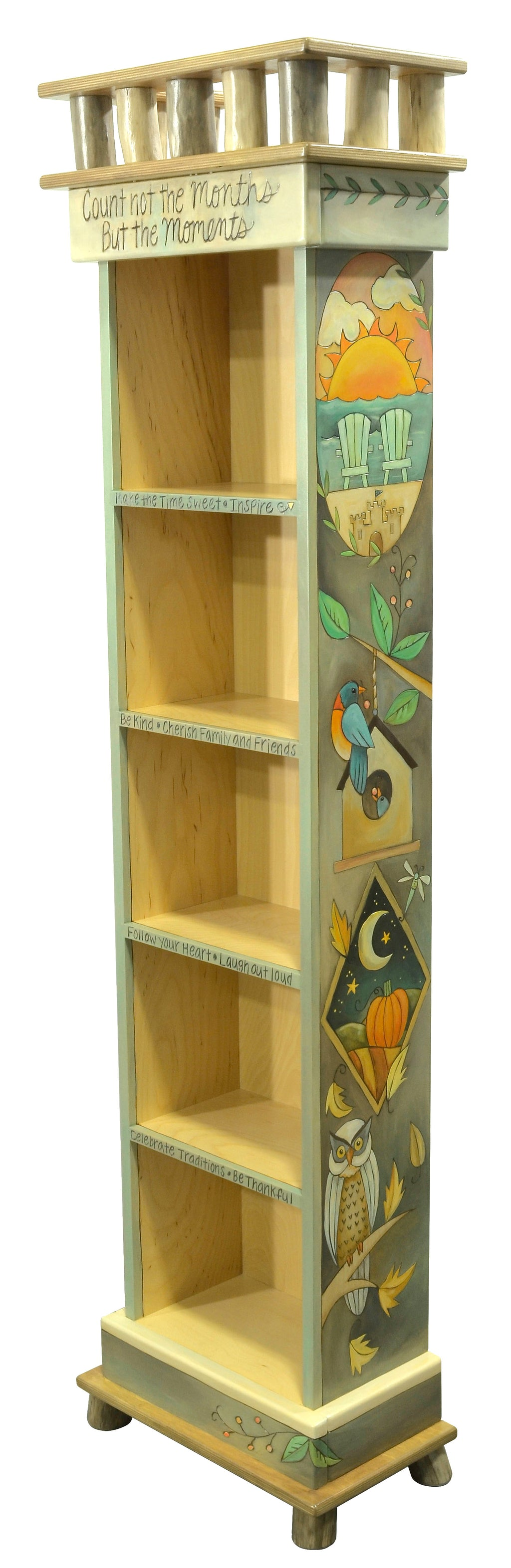 Gorgeous four seasons medallion motif bookcase with various birds throughout