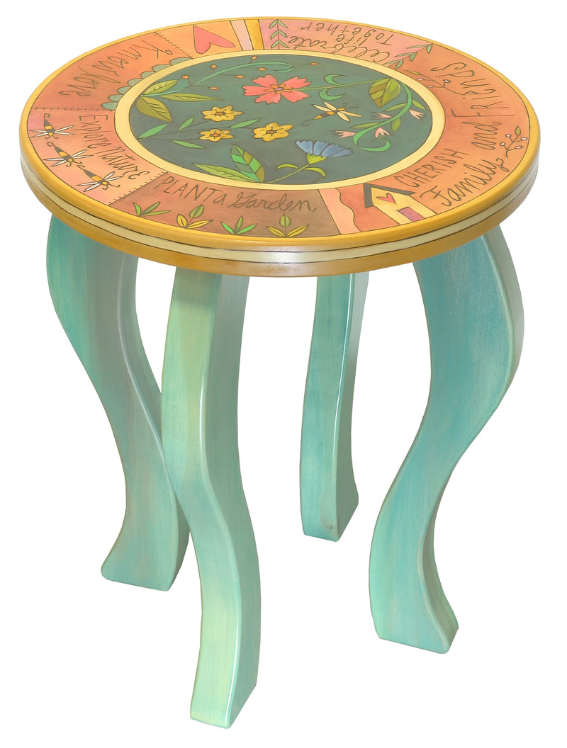 Round End Table –  Lovely coral and teal floral end table design