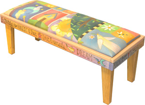 4' Bench with Leather Seat –  Light and bright leather crazy quilt bench seat motif