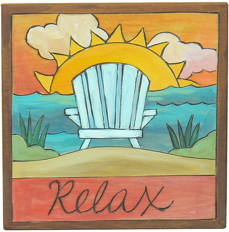"7""x7"" Plaque –  A beachy sunset ""relax"" themed plaque with adirondak chair"
