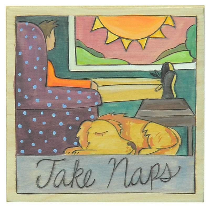 "7""x7"" Plaque –  ""Take Naps"" cozy living room plaque with a pup"