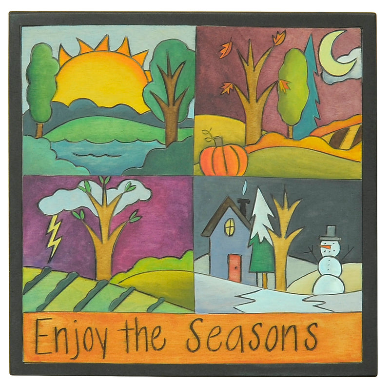 "10""x10"" Plaque –  ""Enjoy the Seasons"" 4 seasons plaque landscape plaque in quadrants"