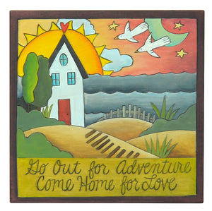 "10""x10"" Plaque –  Coastal themed ""go out for adventure, come home for love"" plaque motif"