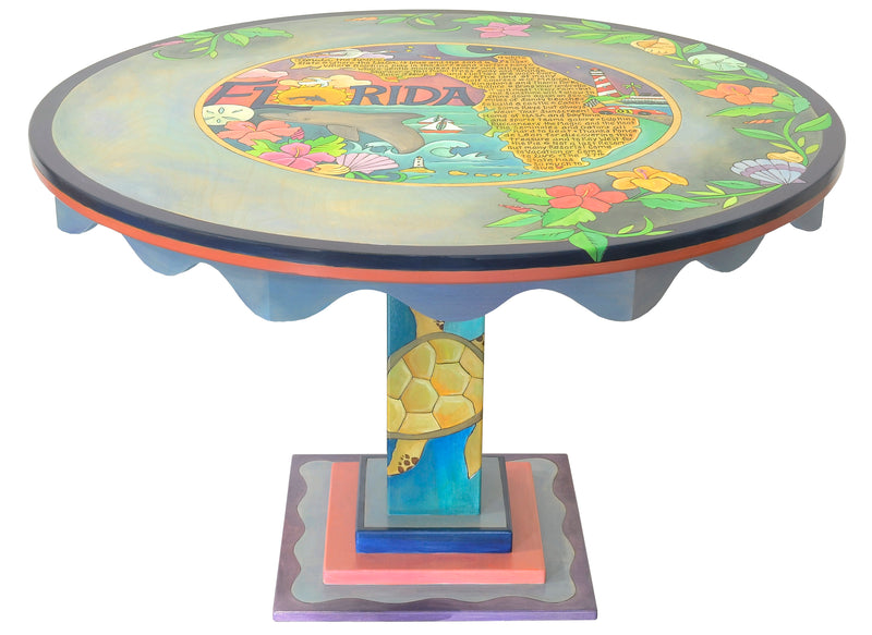 "48"" Round Dining Table –  Gorgeous tropical Florida table with a love poem in the center and flowers and shells around the outside"