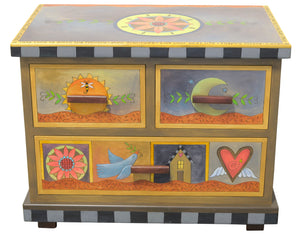 Small Dresser –  Eclectic dresser with boxed icon drawer fronts, tree of life scenes on sides, and flower medallion on top front view