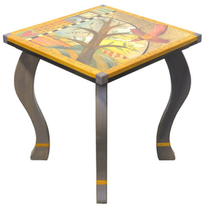 Large Square End Table –  Funky tree of life table design with soaring red bird and abstract line work main view