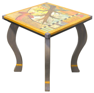 Large Square End Table –  Funky tree of life table design with soaring red bird and abstract line work side view