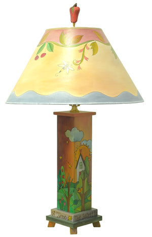 "Box Table Lamp –  ""The secret to life is enjoying the passage of time"" four seasons lamp base with coordinating seasonal vine shade main view"